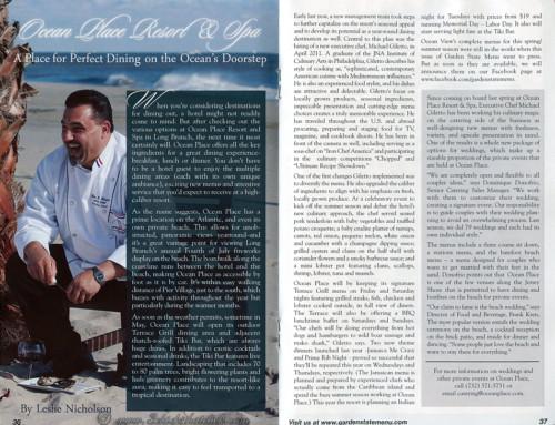 Garden State Menu Magazine Article – Ocean Place Resort & Spa Restaurant, Long Branch, NJ
